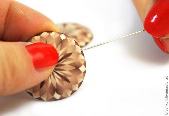Сережки из полимерной глины в технике «Монохромный калейдоскоп» - Ярмарка Мастеров - ручная работа, handmade