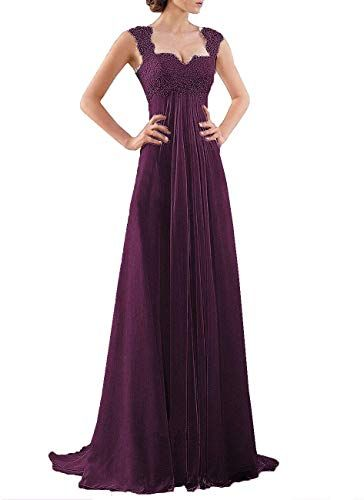 DYS Womens Empire Waist Bridesmaid Wedding Party Dress Lace Formal Evening Gown