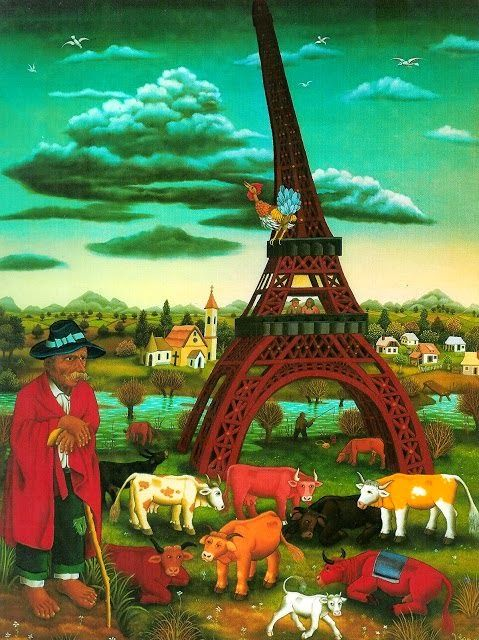 """Иван Генералич """"Мой Париж"""" масло/стекло. 1600х1200 мм. 1972 г.:"""