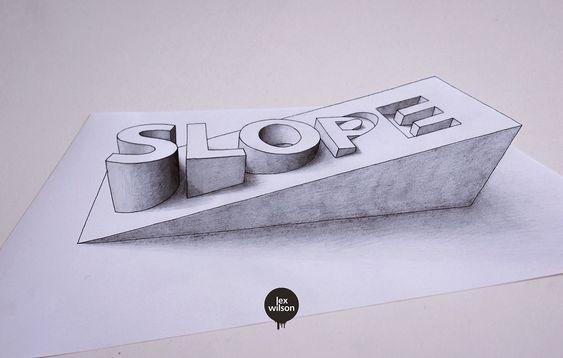 "▶ingenious typography illustration ""Slope"" by Lex Wilson (Nottingham, UK) 2016-02 • https://www.behance.net/gallery/11541583/3D-Typography"