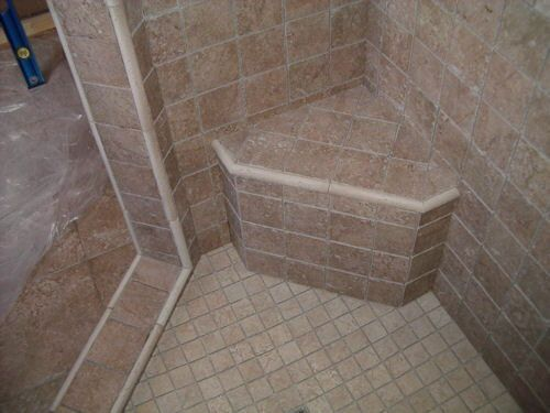 Made With Tile Shower Stalls : Retrofitting shower for bench diy