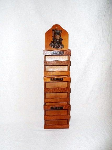 Retro Wooden Mail Caddy Wall Mount Mail Rack Letter Bin Bill Organizer Mail Keeper Cool Vintage Vibe Home Decor Orphaned Treasure 030617e Mail Organizer Retro Decor Bill Organization