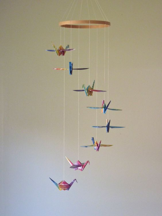 Origami Crane Mobile Baby Mobile Children Decor Eco