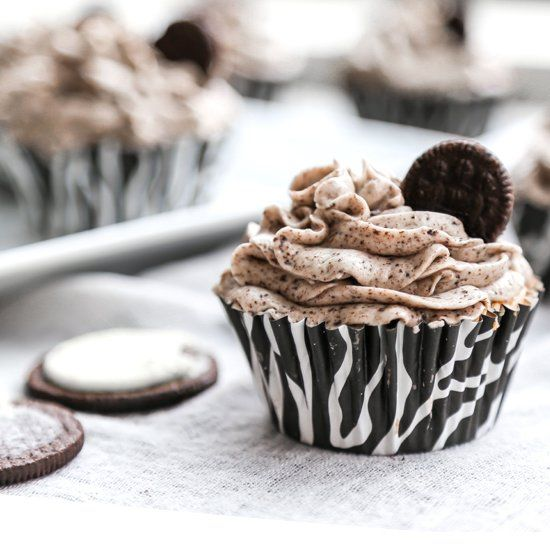 Oreo cupcakes with a delicious and smooth cookies  cream frosting.