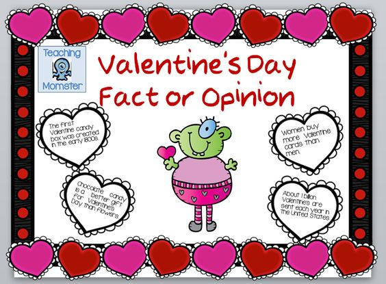 Valentine Fact and Opinion worksheet, $