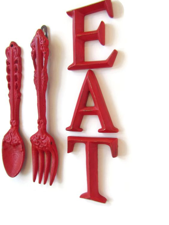 Fork and Spoon Kitchen Decor / Red EAT Sign / Wall by ShabbyAnchor: