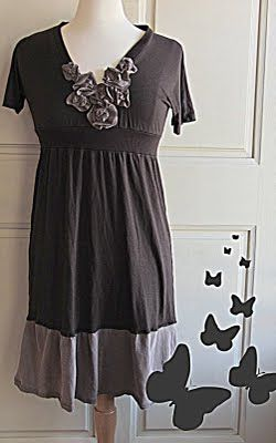 Like this even as a top only...upcycle tshirt and create V-neck, shirt waist..then make flowers and hand sew onto V-neck :)