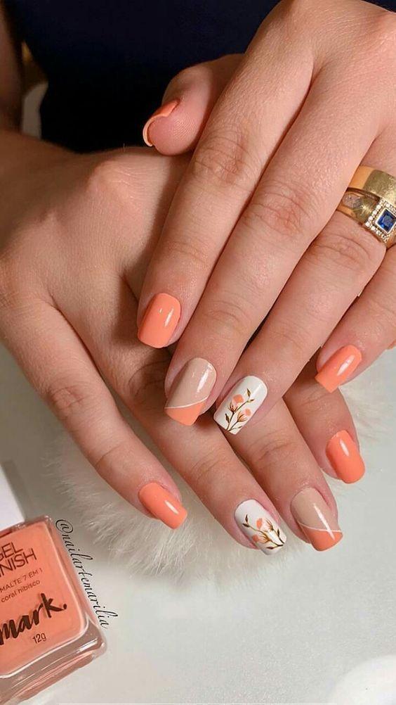 Top 35 Coral Color Nail Designs Manicura De Unas