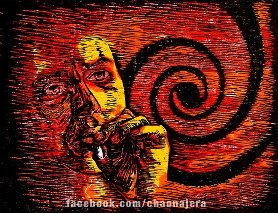 Espiral, Xilografía sobre cartulina opalina, 22 cm x 28.5 cm, $100.°°, No esta enmarcado