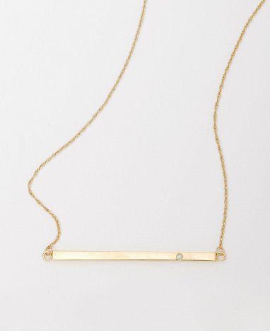 Jennifer Zeuner Horizontal Diamond Bar Necklace