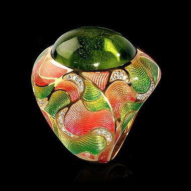 Mousson atelier, Four Seasons collection, ring, Yellow gold 750, Peridot 17,48 ct., Diamonds and Enamel