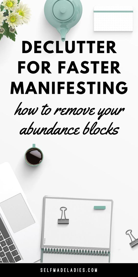 Pinterest Graphic with Title How to Declutter for More Abundance - selfmadeladies.com