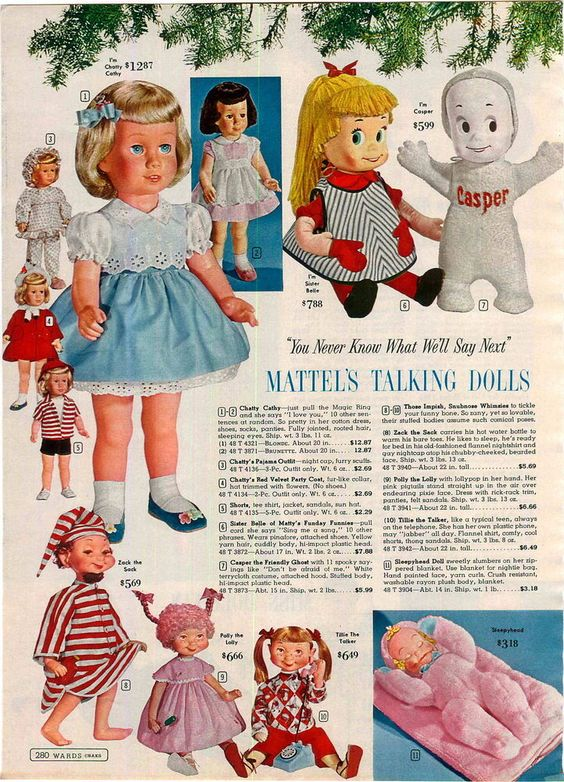 1961 ADVERTISEMENT Doll Mattel Chatty Cathy Casper Ghost Polly Lolly Zack Sack