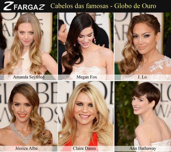 Mulheres! Atenção para as tendências de penteados para 2013.... O Globo de Ouro já trouxe uma prévia do que veremos daqui por diante... Fique de olho!
