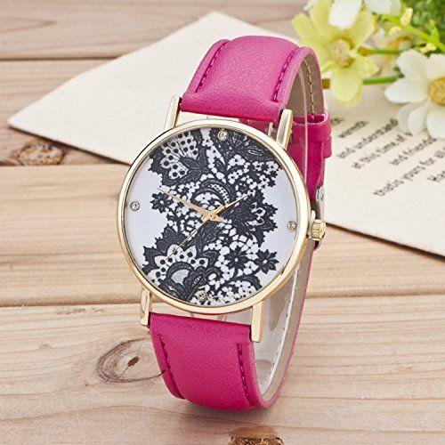 Retro Spitzen Uhr Lederausstattung Leichtmetall Damen Analoge Quarz Armbanduhr Rosa - http://uhr.haus/sanwood/rosa-retro-weltkarte-uhr-lederausstattung-damen-2