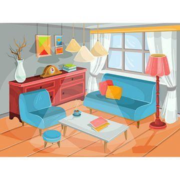 Reka Bentuk Latar Belakang Ruang Tamu Rumah Kartun Segar Interior Decorating Pictures Interior Illustration Modern Style Living Room