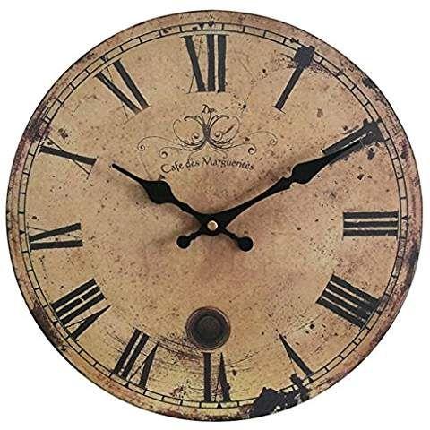 Eruner 12 Inch Vintage Wood Wall Clock France Paris Cafe Des Marguerites Country Retro Style Non Ticking Sile Wood Wall Clock Rustic Wall Clocks Wall Clock