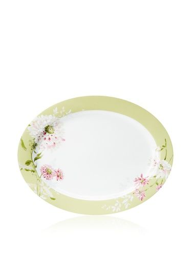 "Mikasa 16"" Silk Floral Oval Platter, Pink"