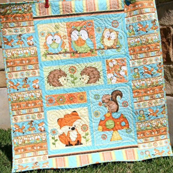 Quilt Kit Hoot Hoot Hooray Panel Gender Neutral Boy Or
