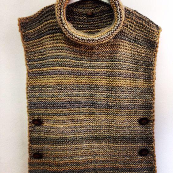 Poncho de cuello alto y desbocado tejido con lana merino - Lana gruesa para tejer ...