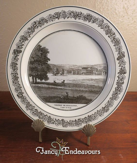 Antique Creil French Creamware Plate of English Scene Kedleston Hall #Creil