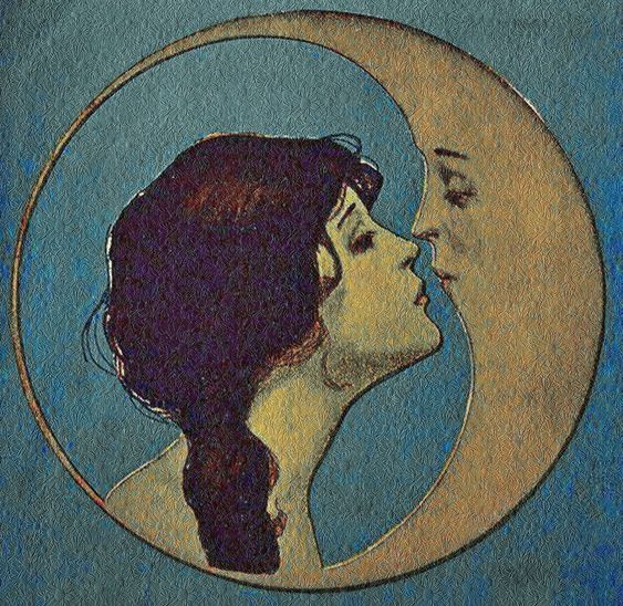 Victorian artwork. Gazing at the crescent moon. Would love a pin like this. As in a brooch.: