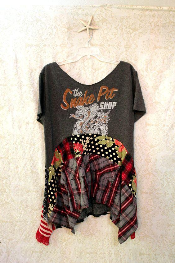 Boho Shirt, Bohemian Junk Gypsy Style, Cowgirl Country Girl, Rocker Music Fest Chic, Coachella