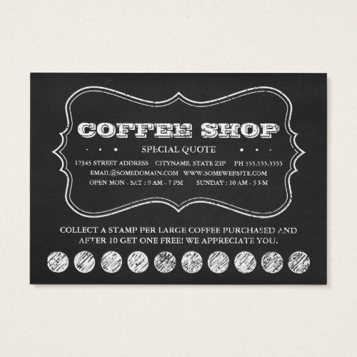 One Cup Of Coffee Chalkboard Punch Cards Zazzle Com Punch Cards Free Business Card Templates Customer Loyalty Cards