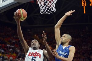 Nicolas Batum blocking Kevin Durant at Olympics Games