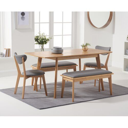 Mikado Living Lowville Extendable Dining Set With 2 Benches And 2