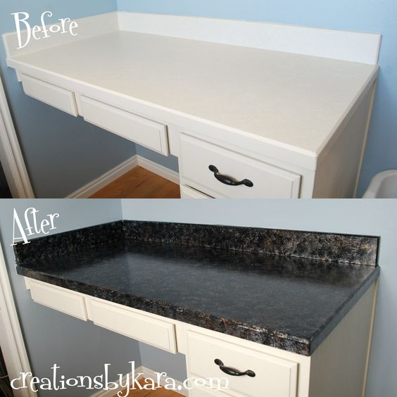 DIY Faux Granite Countertops {Giani Granite Paint - Bombay Black} This is our weekend project!