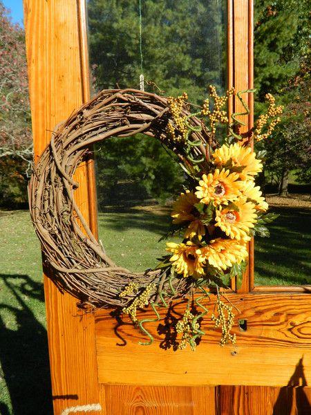 16 inch grapevine wreath with sunflower silk flowers