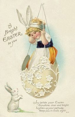 Vintage Easter card: Joy betide your Easter, Sunshine clear and bright, Lighten up your pathway, Keep you in God's sight.