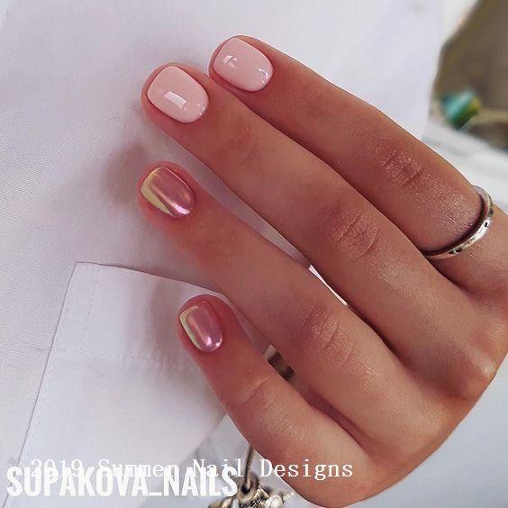 33 Cute Summer Nail Design Ideas 2019 Summernaildesigns Naildesigns Plain Nails Plain Acrylic Nails Nail Designs Summer