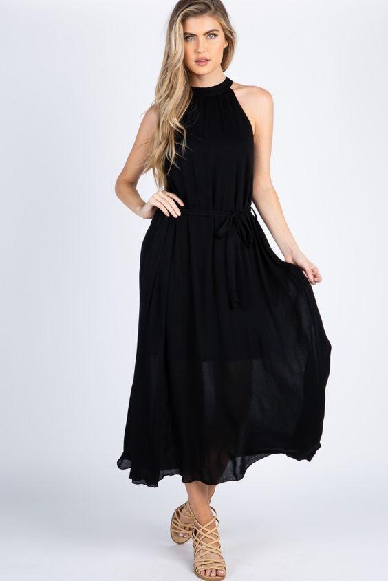 2020 Yazlik Elbise Modelleri Siyah Uzun Halter Yaka Klos Etekli Sade Krem Bantli Topuklu Ayakkabi Maksi Elbiseler Siyah Yazlik Elbise Elbise Modelleri