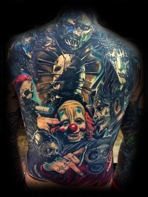 50 Slipknot Tattoos For Men Heavy Metal Band Design Ideas Slipknot Tattoo Monster Tattoo Back Piece Tattoo