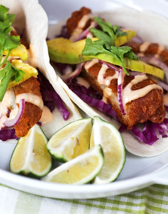 Beer Battered Fried Avocado Tacos Recipe — Dishmaps