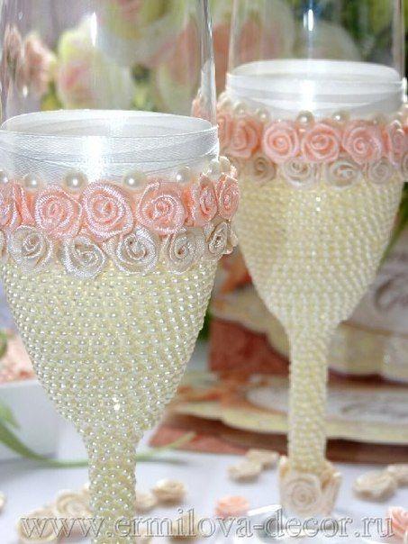 Copas para novios copas de boda hechos a mano para for Copas decoradas a mano