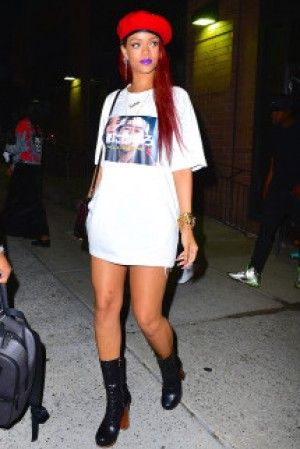 prada lady bag - Rihanna wearing Prada Leather Nail-Studded Boot Nero, Louis ...