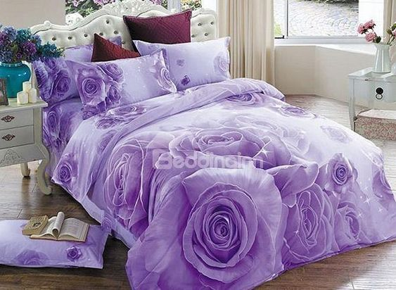 Brilliant Purple Rose Print 4 Piece Cotton Duvet Cover Sets Purple Bedding Purple Bedding Sets Floral Bedding Sets