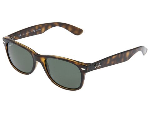 discount ray ban new wayfarer sunglasses  ray ban rb2132 new wayfarer polarized 55mm tortoise/crystal green polarized lens zappos