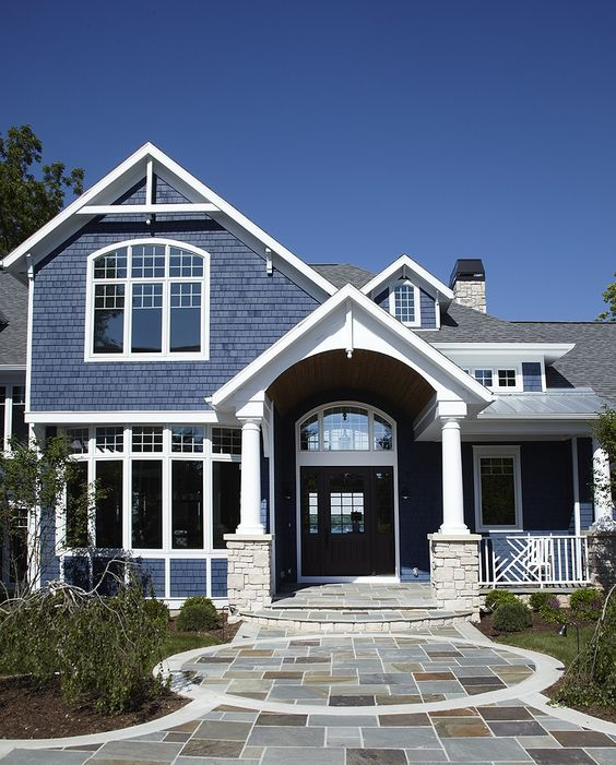 Stone patios bay windows and railings on pinterest for Arched bay windows