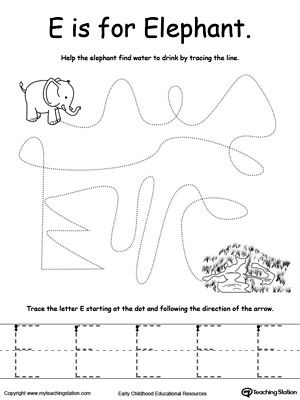 Trace Letter E Learn To Print The Alphabet Letter E Letter E Worksheets Learning Letters