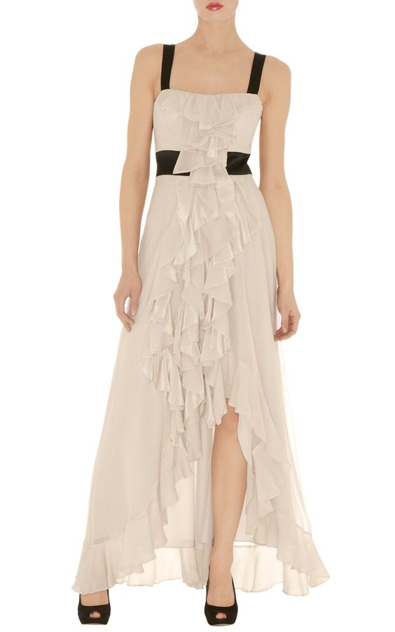 Cream ruffle maxi dress