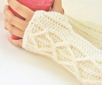 Faux Cable Fingerless Mitts or Arm Warmers