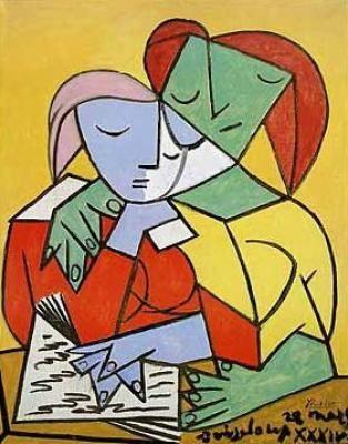 """Dos niñas leyendo. Pablo Picasso.- """"La lectura no depende de la organización del tiempo social, es, como el amor, una manera de ser"""". Daniel Pennac."""
