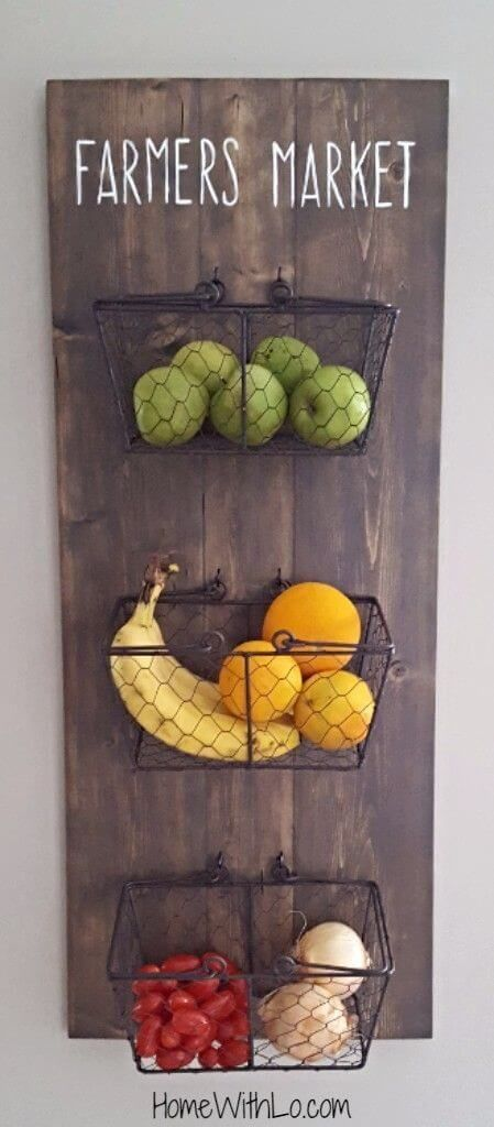 45 Pretty Kitchen Wall Decor Ideas To Stir Up Your Blank Walls Rustic Fruit And Vegetable Storage
