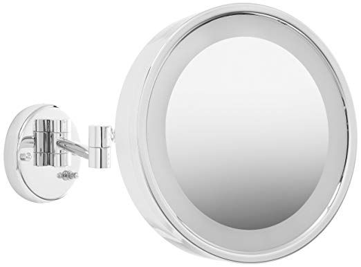 Jerdon Hl7cf 9 75 Inch Lighted Wall Mount Makeup Mirror With 3x