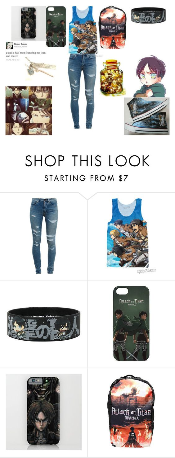 """Attack on Titan"" by hannahcannon97 ❤ liked on Polyvore featuring moda, Yves Saint Laurent, Levi's y Converse"