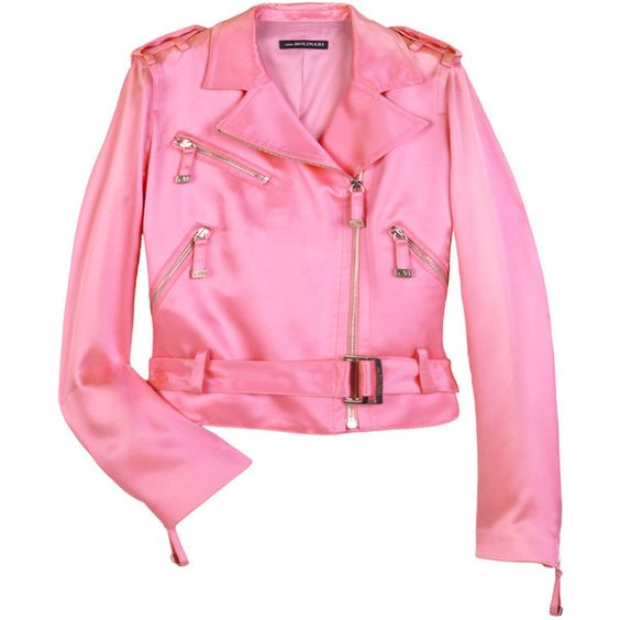 Satin biker jacket (¥25,965) ❤ liked on Polyvore featuring outerwear, jackets, tops, coats, women, long sleeve jacket, pink jacket, pink moto jacket, motorcycle biker jacket and collar jacket